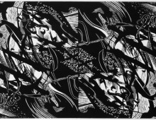 Chimère, linogravure, 30x60cm
